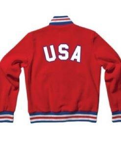 United States Red Letterman Varsity Bomber Rib Knitted Jacket Front