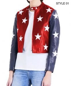 Womens 4th july Independence day Cropped leather jacket style 1 front