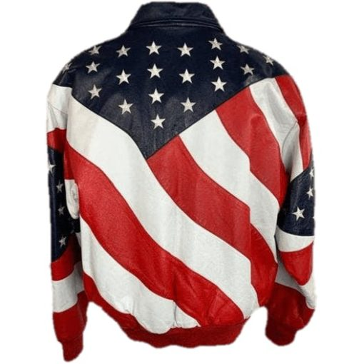 Independence Day American Flag Michae Hoban Leather Jacket with US Flag Pattern Back View