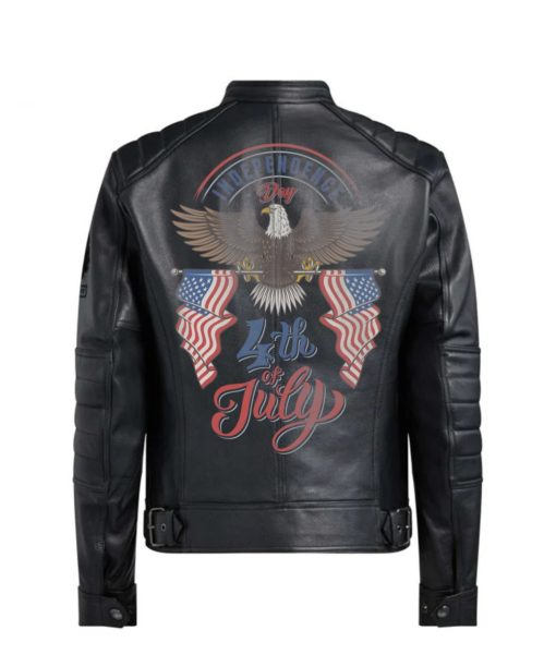 Custom Designed Independence Day Bald Eagle Holding US Flags 4th of July Black Leather Jacket