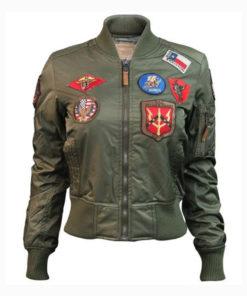 Top Gun MA-1 Womens Olive Bomber Jacket
